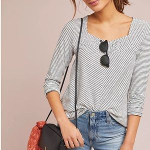 Anthropologie Maeve Kenley Top Black and White